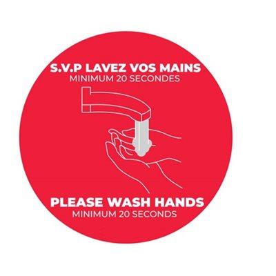 Collants plancher - lavez vos mains